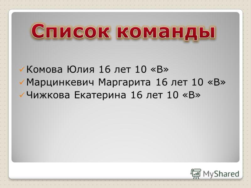 Комова Юлия 16 лет 10 «В» Марцинкевич Маргарита 16 лет 10 «В» Чижкова Екатерина 16 лет 10 «В»