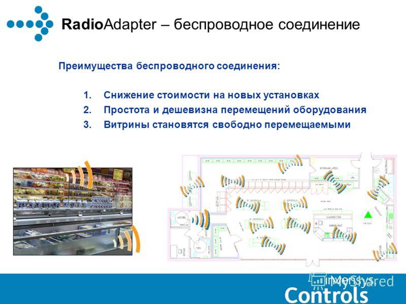 RadioAdapter – беспроводное соединение Преимущества беспроводного соединения: 1.Снижение стоимости на новых установках 2.Простота и дешевизна перемещений оборудования 3.Витрины становятся свободно перемещаемыми