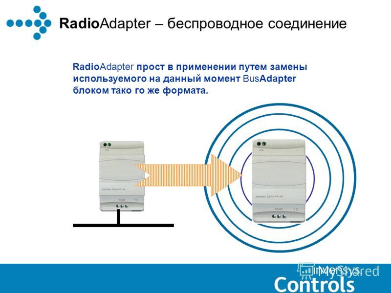 RadioAdapter – беспроводное соединение RadioAdapter прост в применении путем замены используемого на данный момент BusAdapter блоком тако го же формата.