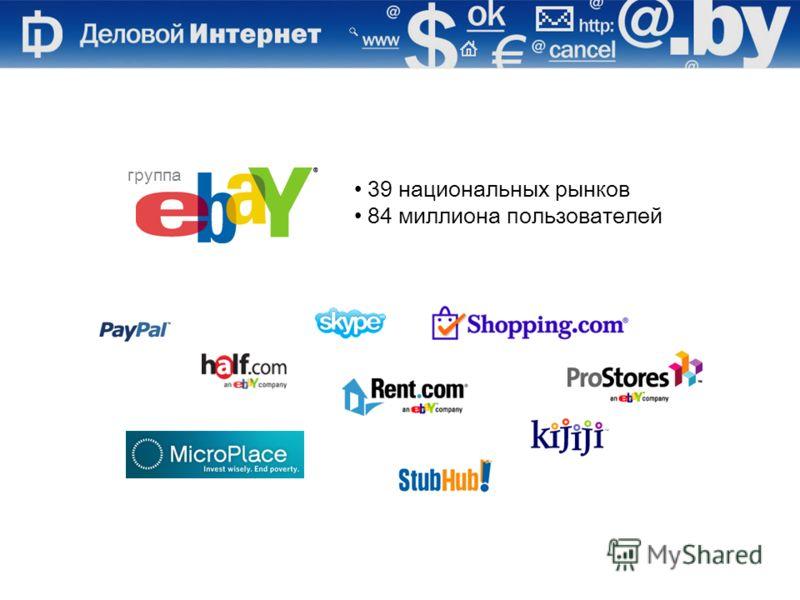 39 национальных рынков 84 миллиона пользователей группа