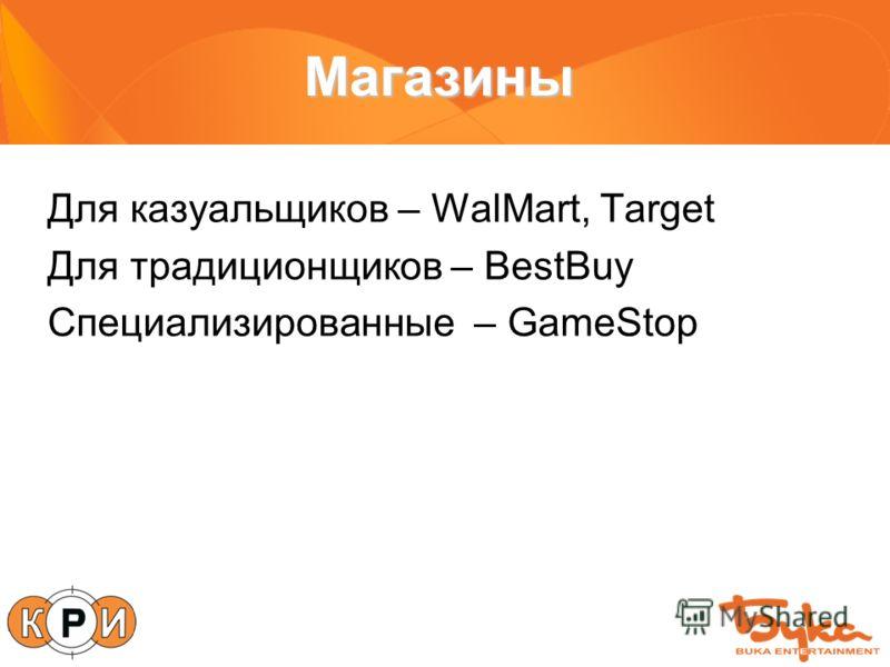 Магазины Для казуальщиков – WalMart, Target Для традиционщиков – BestBuy Специализированные – GameStop