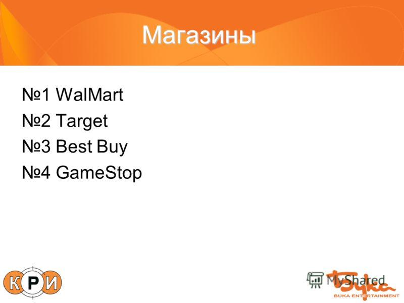 Магазины 1 WalMart 2 Target 3 Best Buy 4 GameStop