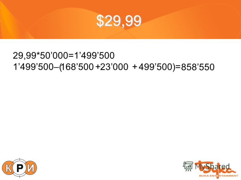 $29,99 29,99*50000=1499500 1499500–( + +)= 168500 499500 23000 858550