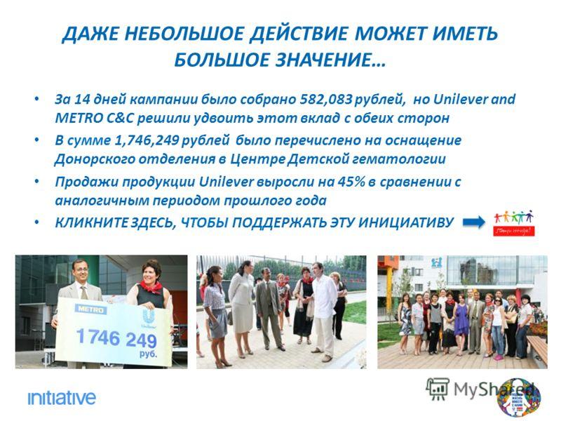 ДАЖЕ НЕБОЛЬШОЕ ДЕЙСТВИЕ МОЖЕТ ИМЕТЬ БОЛЬШОЕ ЗНАЧЕНИЕ… За 14 дней кампании было собрано 582,083 рублей, но Unilever and METRO C&C решили удвоить этот вклад с обеих сторон В сумме 1,746,249 рублей было перечислено на оснащение Донорского отделения в Це