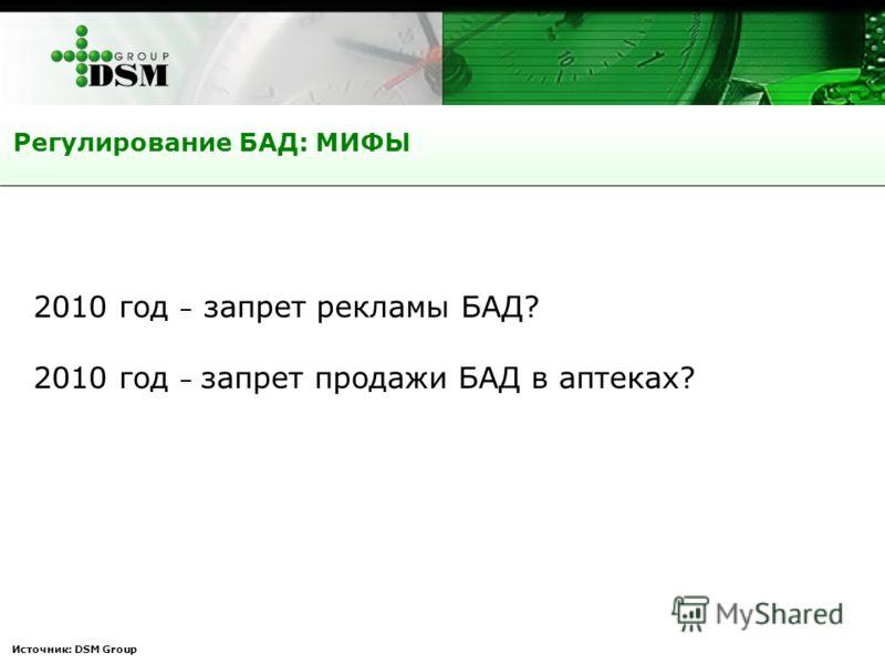 Источник: DSM Group Регулирование БАД: МИФЫ 2010 год – запрет рекламы БАД? 2010 год – запрет продажи БАД в аптеках?