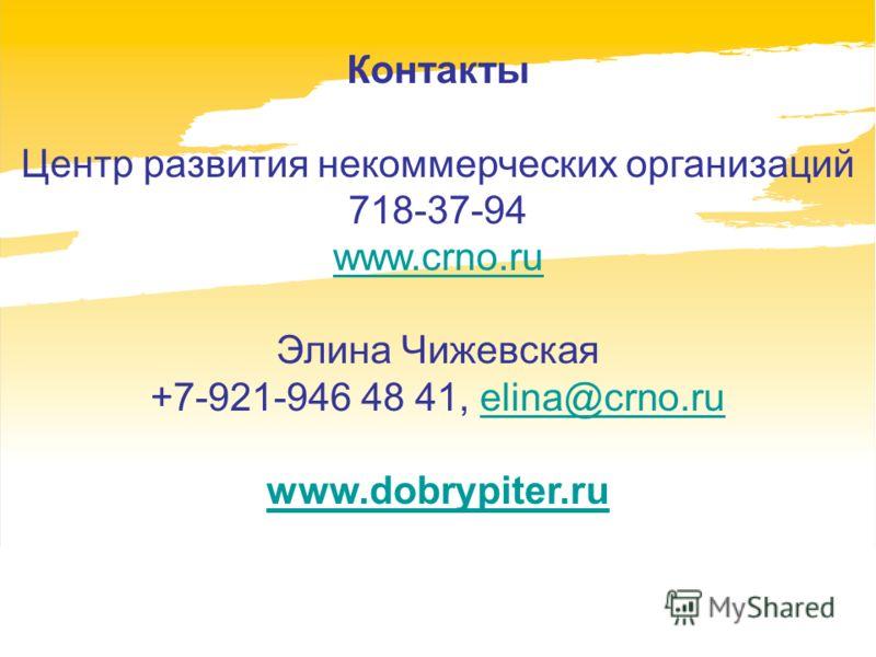 Контакты Центр развития некоммерческих организаций 718-37-94 www.crno.ru Элина Чижевская +7-921-946 48 41, elina@crno.ruelina@crno.ru www.dobrypiter.ru