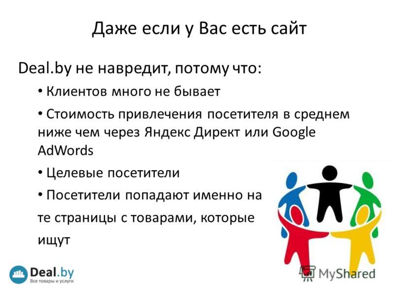 Даже если у Вас есть сайт Deal.by не навредит, потому что: Клиентов много не бывает Стоимость привлечения посетителя в среднем ниже чем через Яндекс Директ или Google AdWords Целевые посетители Посетители попадают именно на те страницы с товарами, ко