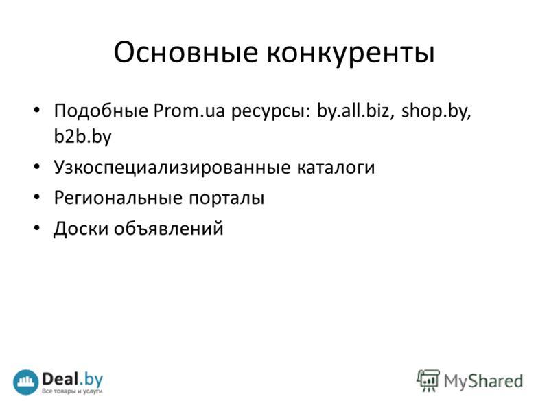 Основные конкуренты Подобные Prom.ua ресурсы: by.all.biz, shop.by, b2b.by Узкоспециализированные каталоги Региональные порталы Доски объявлений