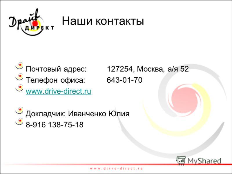 Наши контакты Почтовый адрес: 127254, Москва, а/я 52 Телефон офиса: 643-01-70 www.drive-direct.ru Докладчик: Иванченко Юлия 8-916 138-75-18