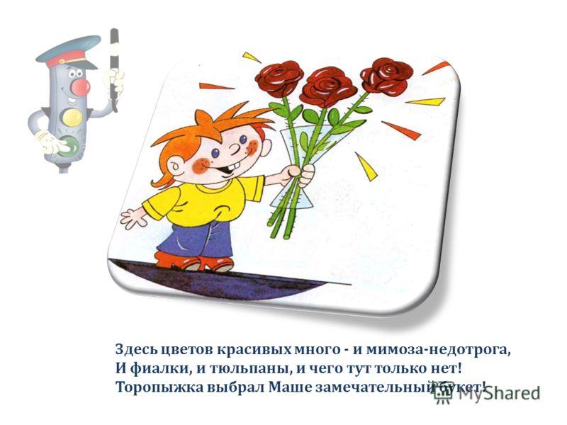 Здесь цветов красивых много - и мимоза-недотрога, И фиалки, и тюльпаны, и чего тут только нет! Торопыжка выбрал Маше замечательный букет!