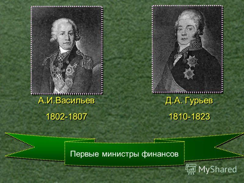Первые министры финансов Д.А. Гурьев 1810-1823 Д.А. Гурьев 1810-1823 А.И.Васильев 1802-1807 А.И.Васильев 1802-1807