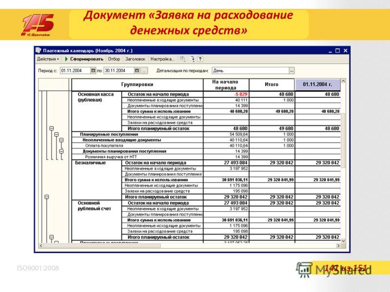Документ «Заявка на расходование денежных средств» 141 из 151