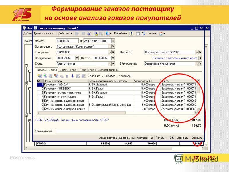 Формирование заказов поставщику на основе анализа заказов покупателей 37 из 151