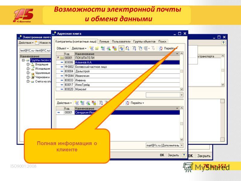 Возможности электронной почты и обмена данными 78 из 151 Полная информация о клиенте