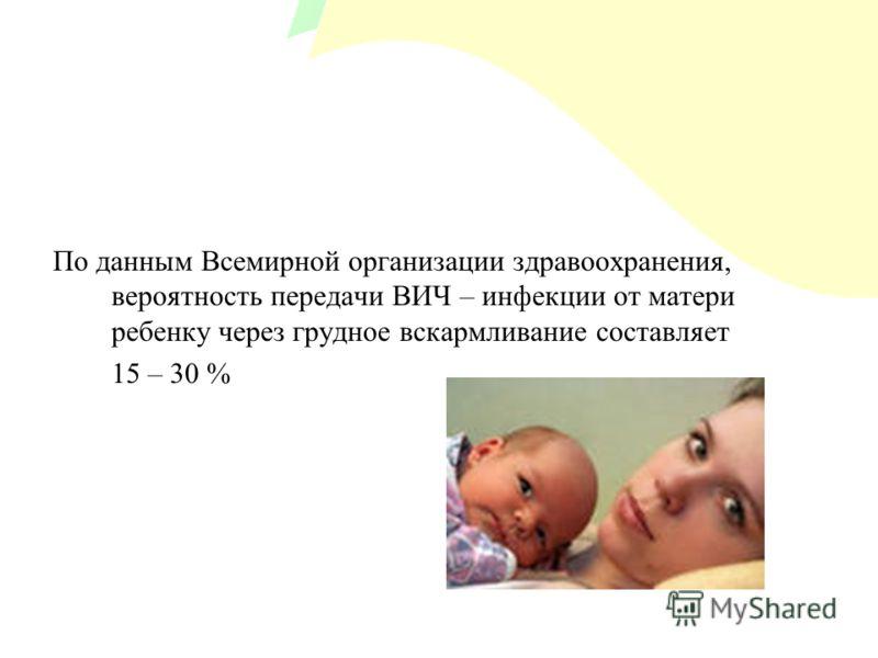 По данным Всемирной организации здравоохранения, вероятность передачи ВИЧ – инфекции от матери ребенку через грудное вскармливание составляет 15 – 30 %