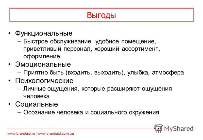 www.brandaid.ru | www.brandaid.com.ua Выгоды Функциональные –Быстрое обслуживание, удобное помещение, приветливый персонал, хороший ассортимент, оформление Эмоциональные –Приятно быть (входить, выходить), улыбка, атмосфера Психологические –Личные ощу