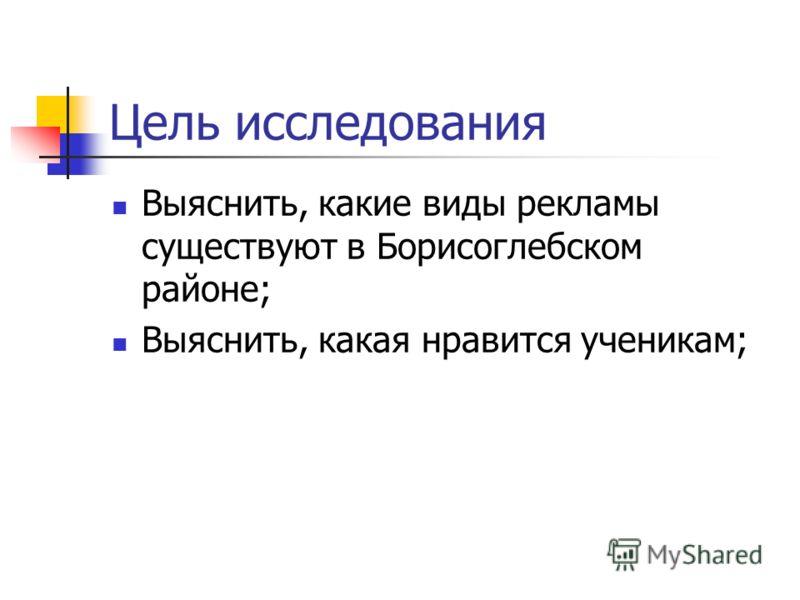 Цель исследования Выяснить, какие виды рекламы существуют в Борисоглебском районе; Выяснить, какая нравится ученикам;