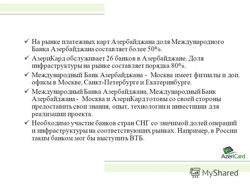 На рынке платежных карт Азербайджана доля Международного Банка Азербайджана составляет более 50%. АзериКард обслуживает 26 банков в Азербайджане. Доля инфраструктуры на рынке составляет порядка 80%. Международный Банк Азербайджана - Москва имеет фили