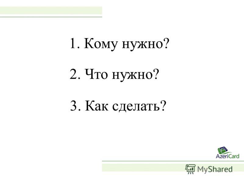 1. Кому нужно? 2. Что нужно? 3. Как сделать?