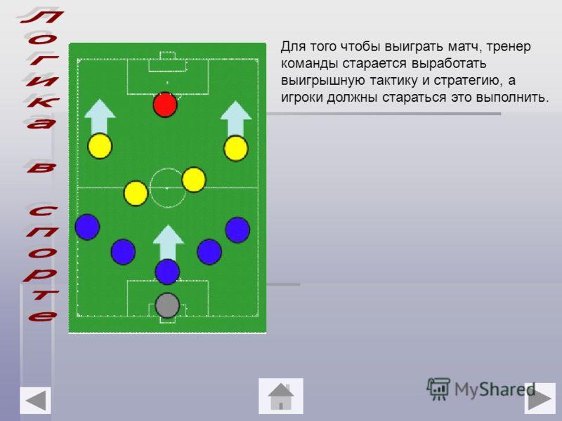 Для того чтобы выиграть матч, тренер команды старается выработать выигрышную тактику и стратегию, а игроки должны стараться это выполнить.