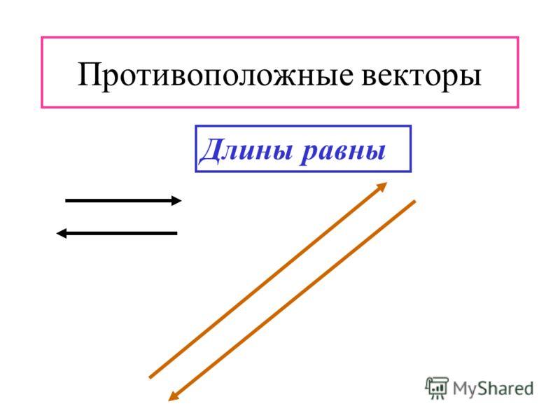 Противоположные векторы Длины равны