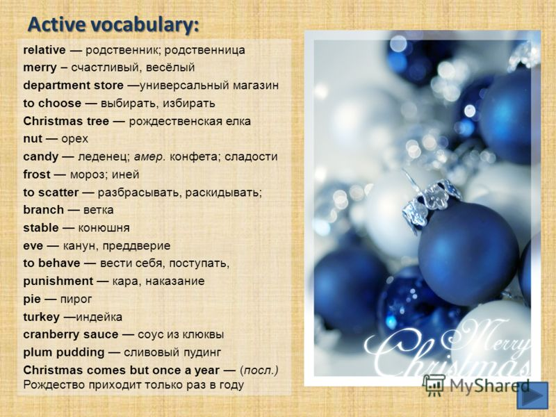Active vocabulary: relative родственник; родственница merry – счастливый, весёлый department store универсальный магазин to choose выбирать, избирать Christmas tree рождественская елка nut орех candy леденец; амер. конфета; сладости frost мороз; иней