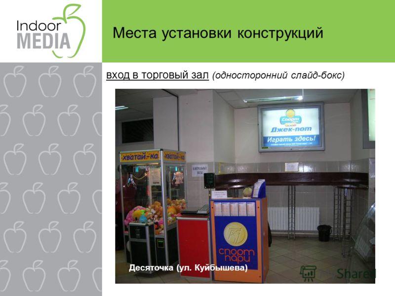Места установки конструкций Десяточка (ул. Куйбышева) вход в торговый зал (односторонний слайд-бокс)