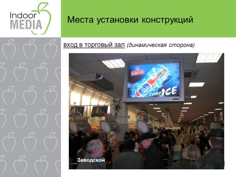 Места установки конструкций Заводской вход в торговый зал (динамическая сторона)