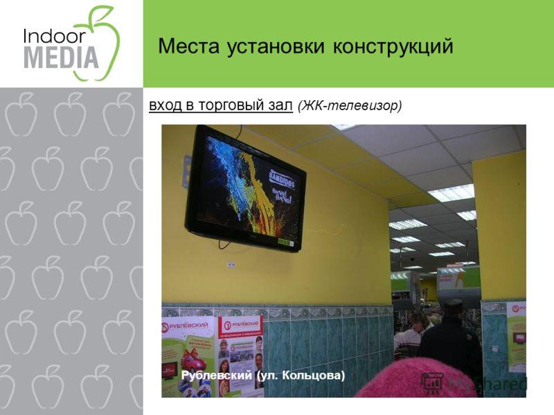 Места установки конструкций вход в торговый зал (ЖК-телевизор) Рублевский (ул. Кольцова)