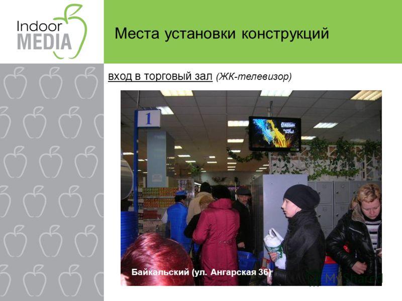 Места установки конструкций вход в торговый зал (ЖК-телевизор) Байкальский (ул. Ангарская 36)