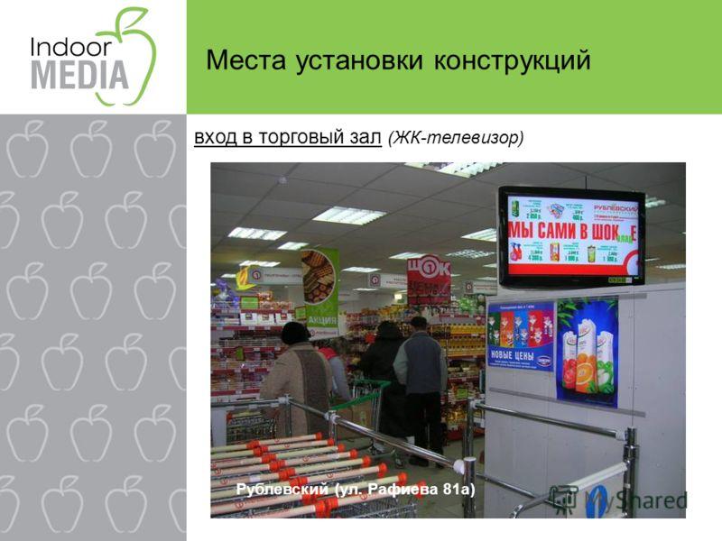 Места установки конструкций вход в торговый зал (ЖК-телевизор) Рублевский (ул. Рафиева 81а)