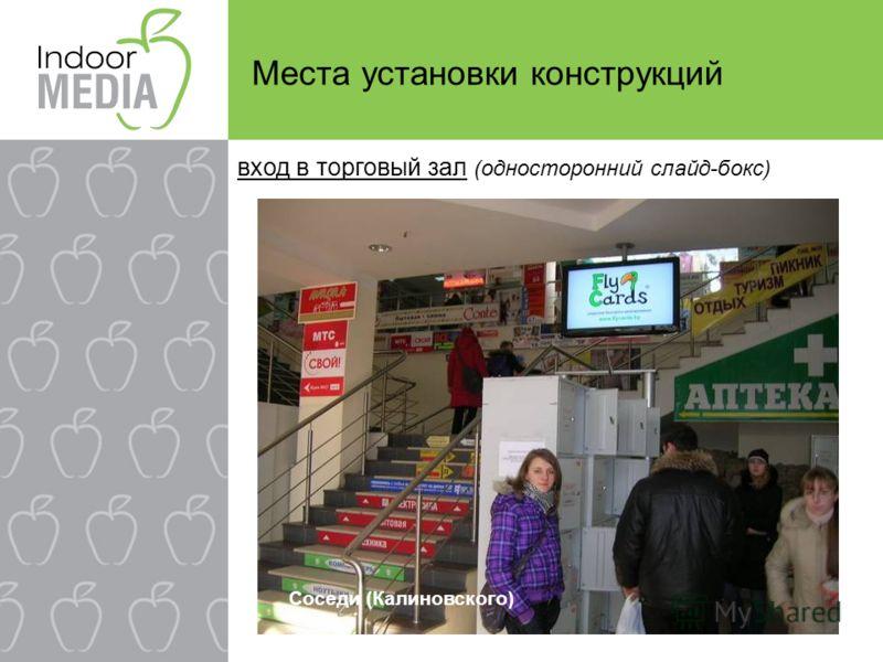 Места установки конструкций вход в торговый зал (односторонний слайд-бокс) Соседи (Калиновского)