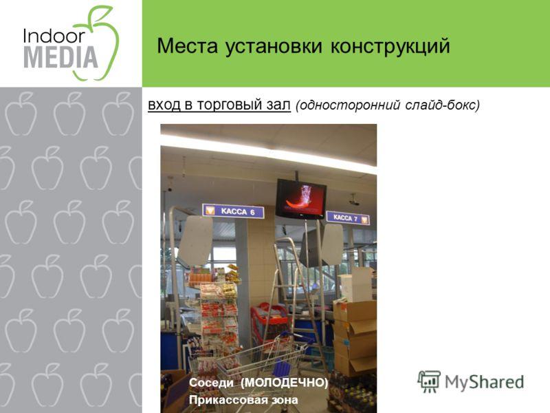 Места установки конструкций вход в торговый зал (односторонний слайд-бокс) Соседи (МОЛОДЕЧНО) Прикассовая зона