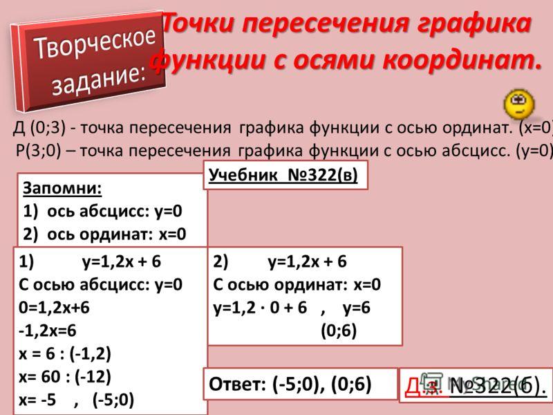 Точки пересечения графика функции с осями координат. Д (0;3) - точка пересечения графика функции с осью ординат. (x=0) P(3;0) – точка пересечения графика функции с осью абсцисс. (y=0) Запомни: 1) ось абсцисс: y=0 2) ось ординат: x=0 Учебник 322(в) 2)