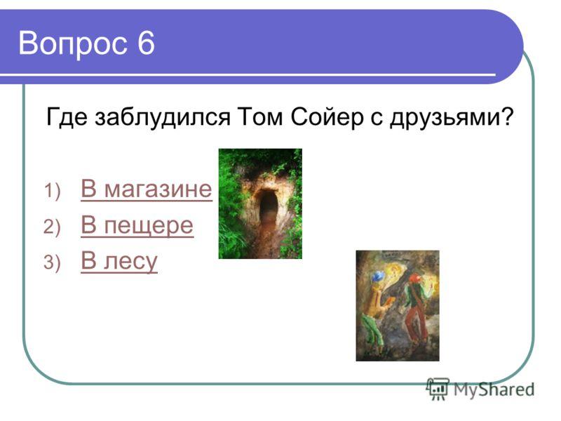 Вопрос 6 Где заблудился Том Сойер с друзьями? 1) В магазине В магазине 2) В пещере В пещере 3) В лесу В лесу