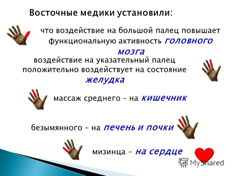 Восточные медики установили: что воздействие на большой палец повышает функциональную активность головного мозга воздействие на указательный палец положительно воздействует на состояние желудка массаж среднего – на кишечник безымянного – на печень и