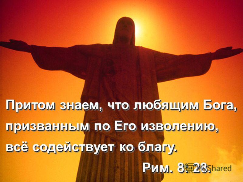 Притом знаем, что любящим Бога, призванным по Его изволению, всё содействует ко благу. Рим. 8: 28. Рим. 8: 28. Притом знаем, что любящим Бога, призванным по Его изволению, всё содействует ко благу. Рим. 8: 28. Рим. 8: 28.