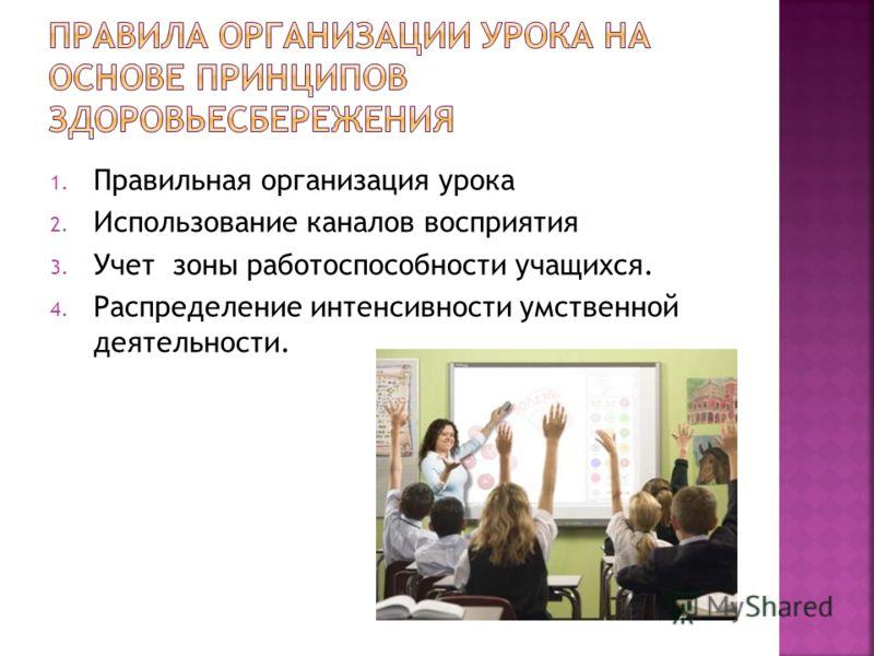 1. Правильная организация урока 2. Использование каналов восприятия 3. Учет зоны работоспособности учащихся. 4. Распределение интенсивности умственной деятельности.