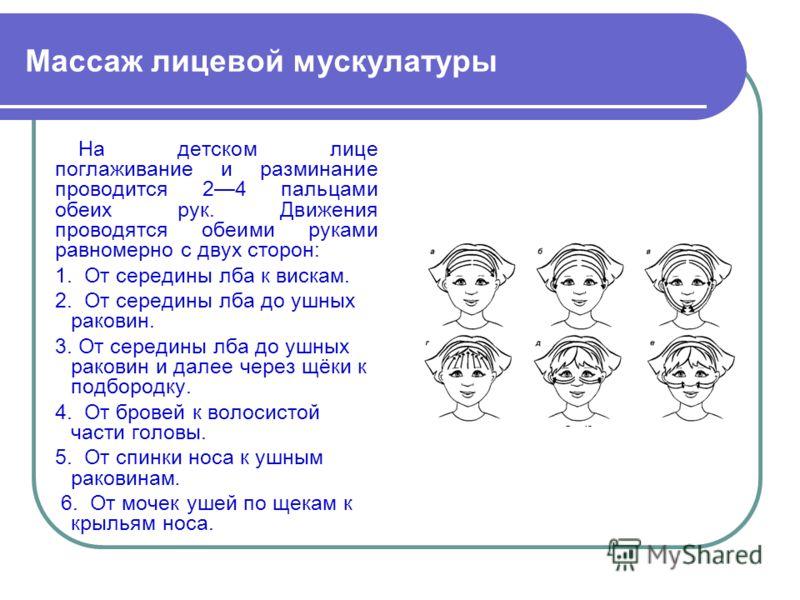 Массаж лицевой мускулатуры На детском лице поглаживание и разминание проводится 24 пальцами обеих рук. Движения проводятся обеими руками равномерно с двух сторон: 1. От середины лба к вискам. 2. От середины лба до ушных раковин. 3. От середины лба до