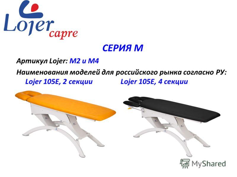 www.lojer.com СЕРИЯ М Артикул Lojer: М2 и М4 Наименования моделей для российского рынка согласно РУ: Lojer 105Е, 2 секции Lojer 105Е, 4 секции