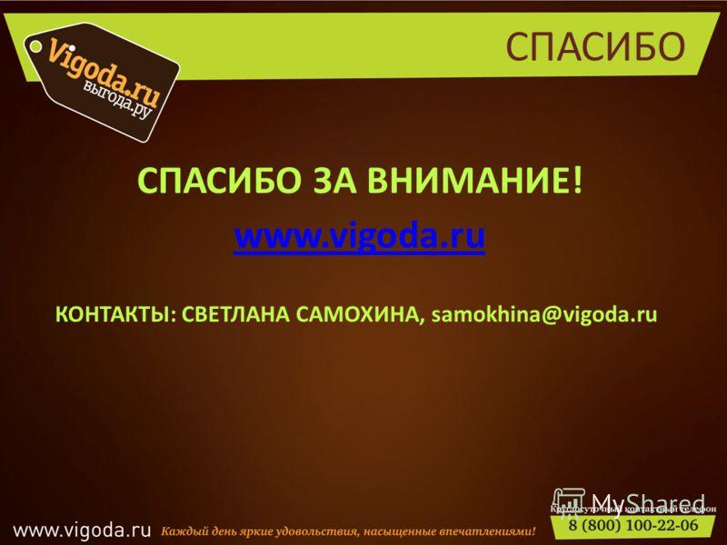 СПАСИБО СПАСИБО ЗА ВНИМАНИЕ! www.vigoda.ru КОНТАКТЫ: СВЕТЛАНА САМОХИНА, samokhina@vigoda.ru