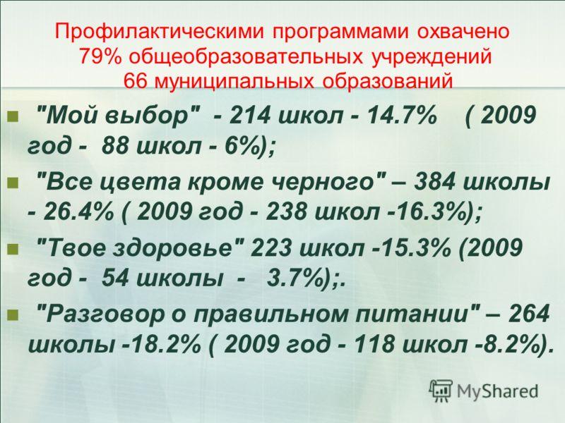 Профилактическими программами охвачено 79% общеобразовательных учреждений 66 муниципальных образований