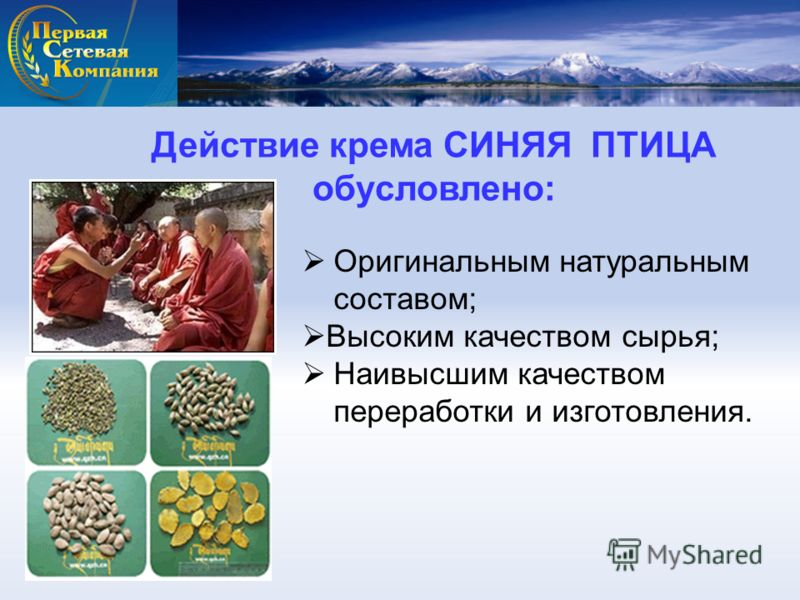 Действие крема СИНЯЯ ПТИЦА обусловлено: Оригинальным натуральным составом; Высоким качеством сырья; Наивысшим качеством переработки и изготовления.