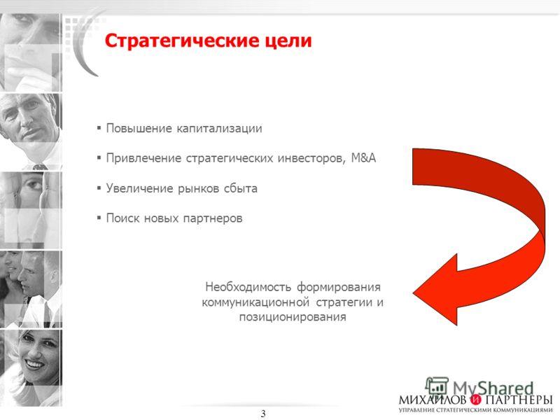 3 Стратегические цели Повышение капитализации Привлечение стратегических инвесторов, M&A Увеличение рынков сбыта Поиск новых партнеров Необходимость формирования коммуникационной стратегии и позиционирования