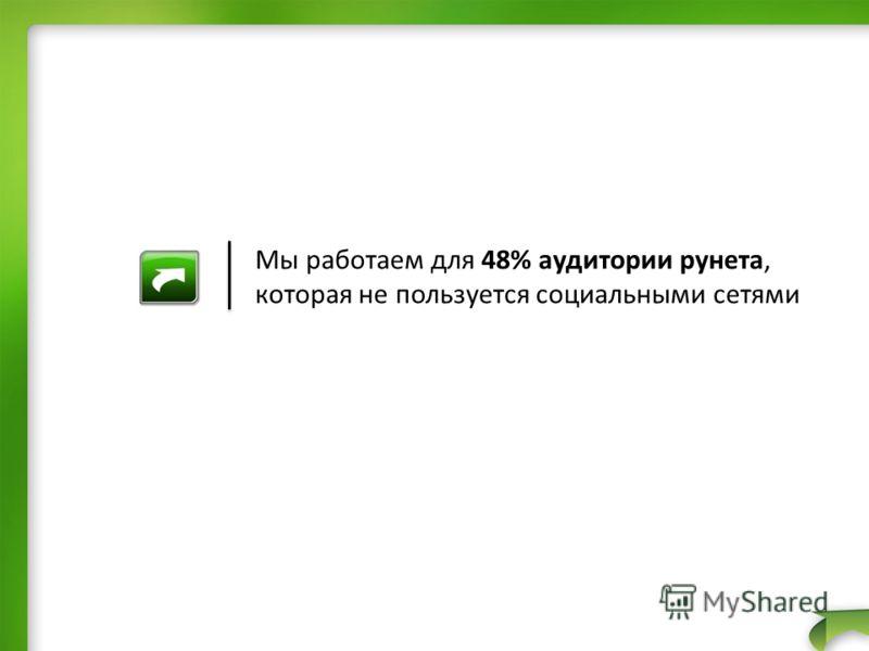 Мы работаем для 48% аудитории рунета, которая не пользуется социальными сетями