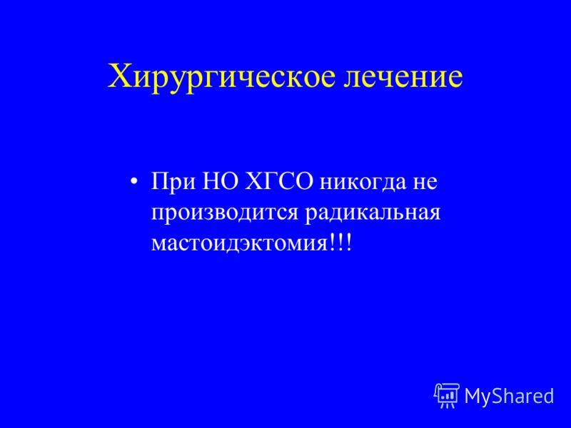 Хирургическое лечение При НО ХГСО никогда не производится радикальная мастоидэктомия!!!
