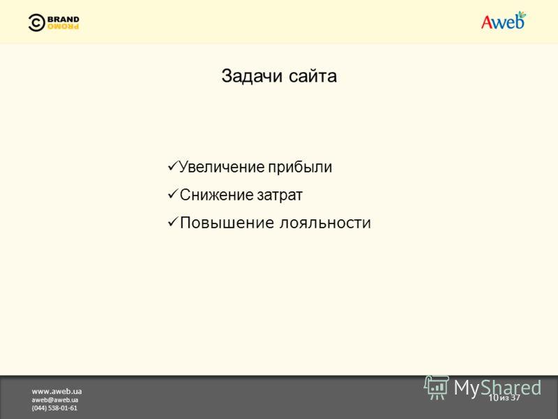 www.aweb.ua aweb@aweb.ua (044) 538-01-61 10 из 37 Задачи сайта Увеличение прибыли Снижение затрат Повышение лояльности
