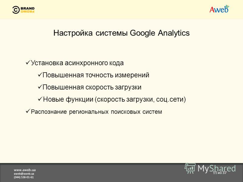 www.aweb.ua aweb@aweb.ua (044) 538-01-61 11 из 37 Настройка системы Google Analytics Установка асинхронного кода Повышенная точность измерений Повышенная скорость загрузки Новые функции (скорость загрузки, соц.сети) Распознание региональных поисковых