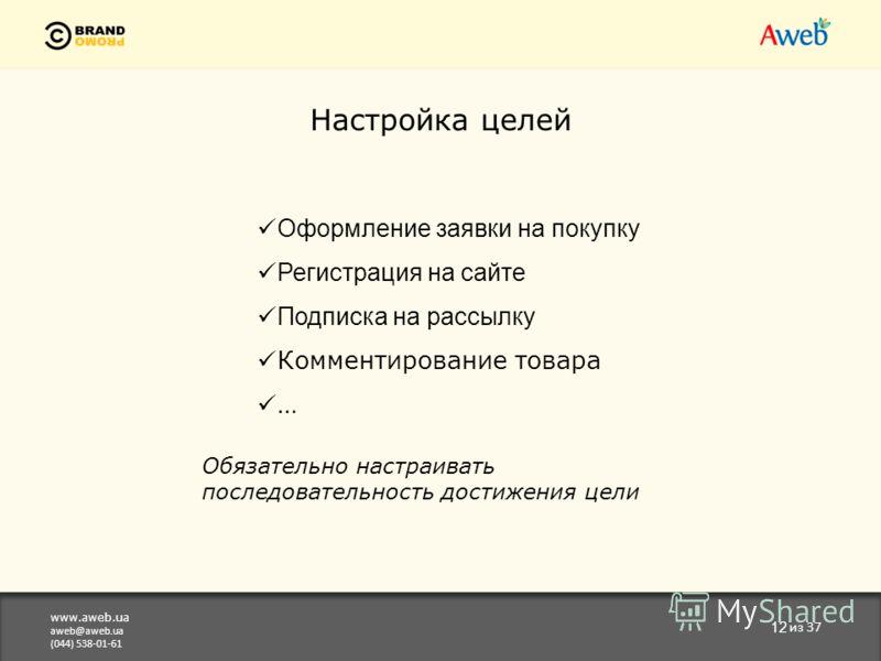 www.aweb.ua aweb@aweb.ua (044) 538-01-61 12 из 37 Настройка целей Оформление заявки на покупку Регистрация на сайте Подписка на рассылку Комментирование товара … Обязательно настраивать последовательность достижения цели