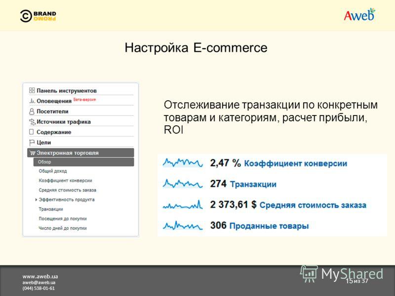 www.aweb.ua aweb@aweb.ua (044) 538-01-61 15 из 37 Настройка E-commerce Отслеживание транзакции по конкретным товарам и категориям, расчет прибыли, ROI